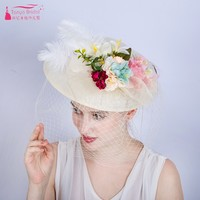 Beige Flowers Bridal Hats with Covered Tulle amazing Beauty Elegant Women Headwear In Stock ZH039