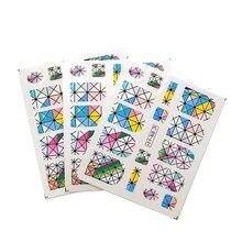 3pcs rhombus Nail Water Transfer Decals Art Sticker Black Flowers Watermark Adhesive Sliders Wraps Decoration Manicure C17
