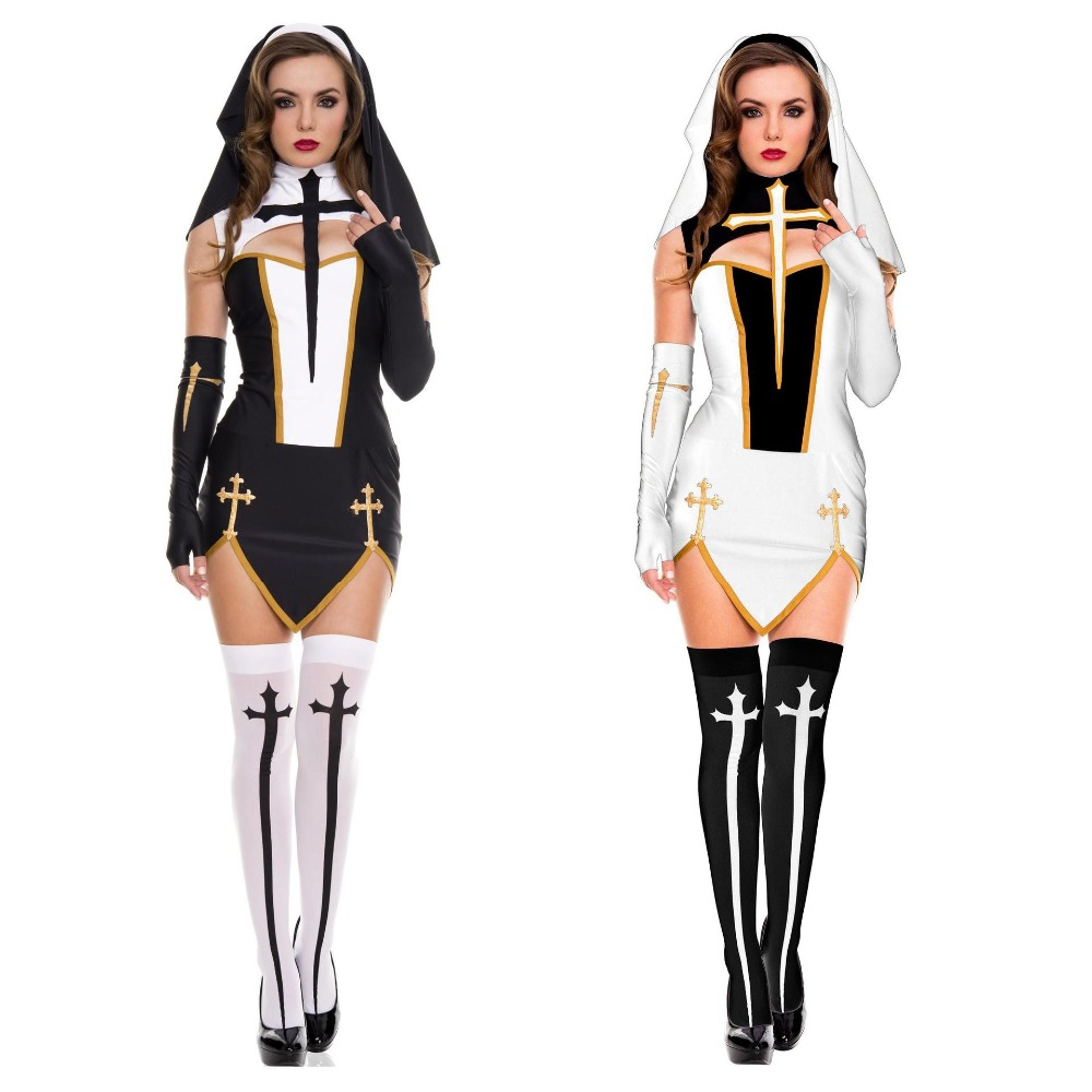 Women Sexy Nun Costume Adult Women Cosplay Dress Black Halloween Party Sister Fantasy Cosplay Costume Dress Ladies Role Play