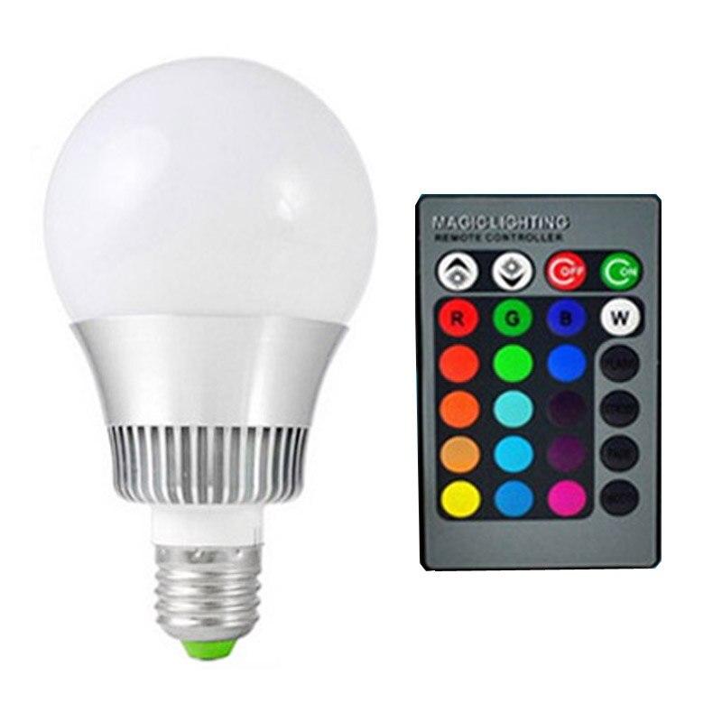 E27 RGB LED 10 w 16 couleurs rgb LED ampoule E14 Dimmable Lampada LED 110 220 v LED rgb lampe avec télécommande spot lumière avec mémoire