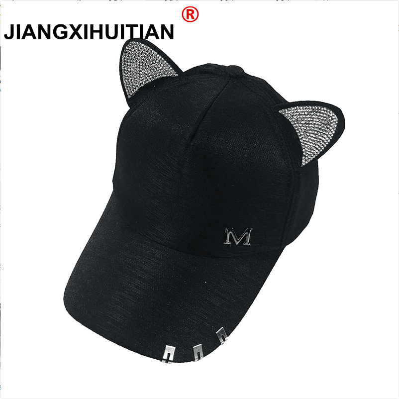 New meow Women's Summer fall black white Pink hat Cat ears Cat   Baseball     cap   with rings and lace Diamond cute girl hat