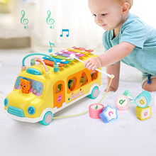 Musical Baby Toys Knock Piano Bus Shape Learning Car for Multifunction Hand Eye Coordination Development Toy