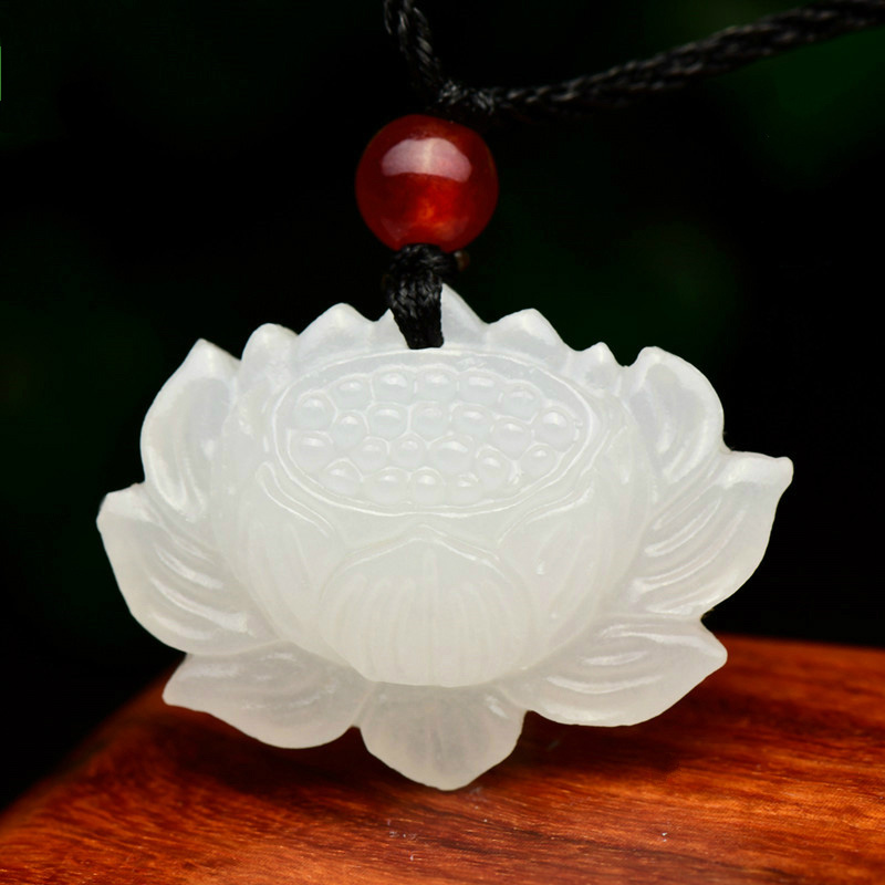 Drop Shipping XinJiang White Jade Pendant Necklace Jade Lotus Flower Lucky Amulet Necklace With Chain For Men Women