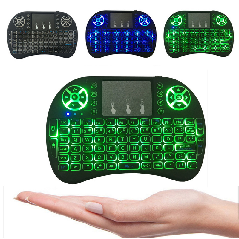 Backlit i8+ Air Mouse Mini Wireless Keyboard 2.4GHz 3 Color Touchpad Handheld for Android TV BOX X96Mini Laptop Backlight Remote t2 2 4ghz ultra thin wireless mini keyboard with touchpad mouse colorful backlit