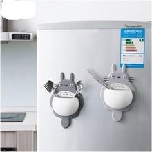 Aranyos Totoro Fürdőszoba tároló Rack kulcsok Fogkefetartó Konyhai tartó 3Vacuum szívócsészék Tárolódoboz a falajtón Hűtőszekrény