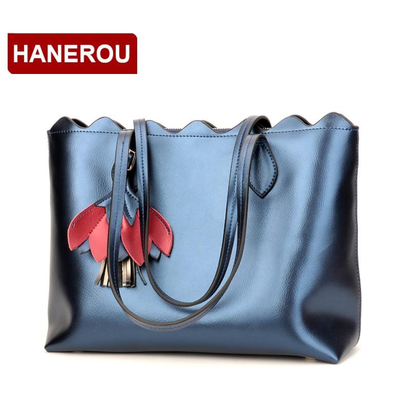 HANEROU Genuine Leather Women Handbags Large Capacity Shoulder Bag For Women Tassel Tote Bag Female Handbag Sac A Main Femme hanerou серый средний