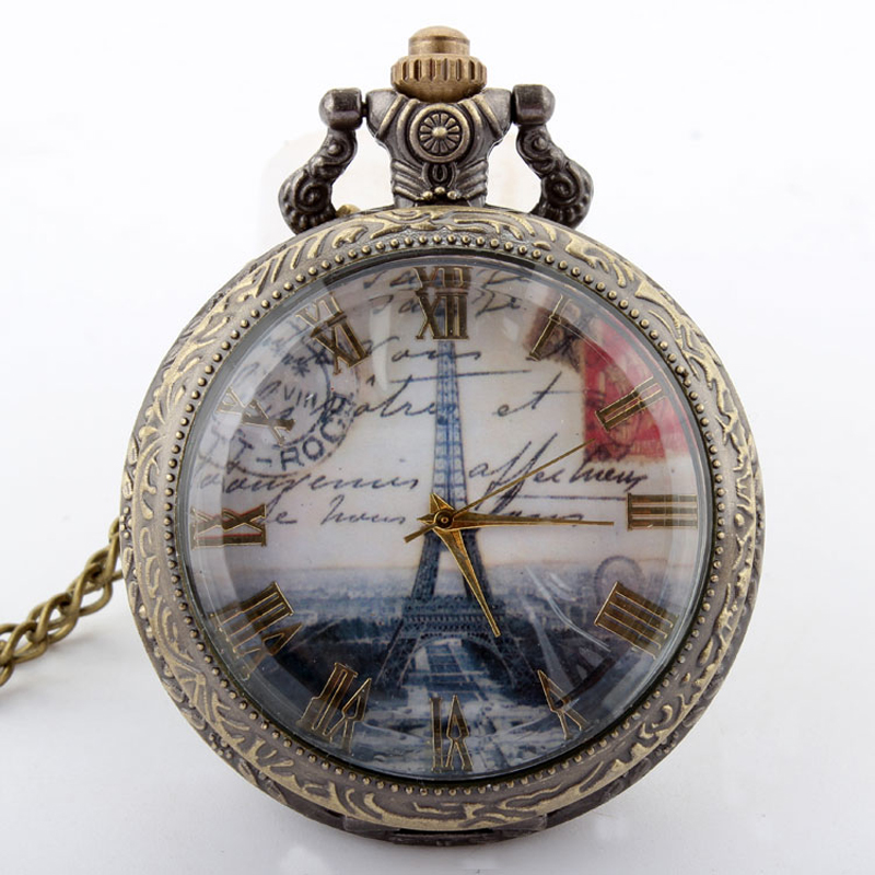 Eiffel Tower Pocket Watch Roman Numbers Bronze Antique Vintage Quartz Pocket Watch Pendant Necklace With Fob Chain Men Women