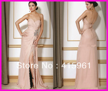 Sexy Pink Sweetheart Lace Split Front Prom Evening Dresses Gowns Floor Length Chiffon E748