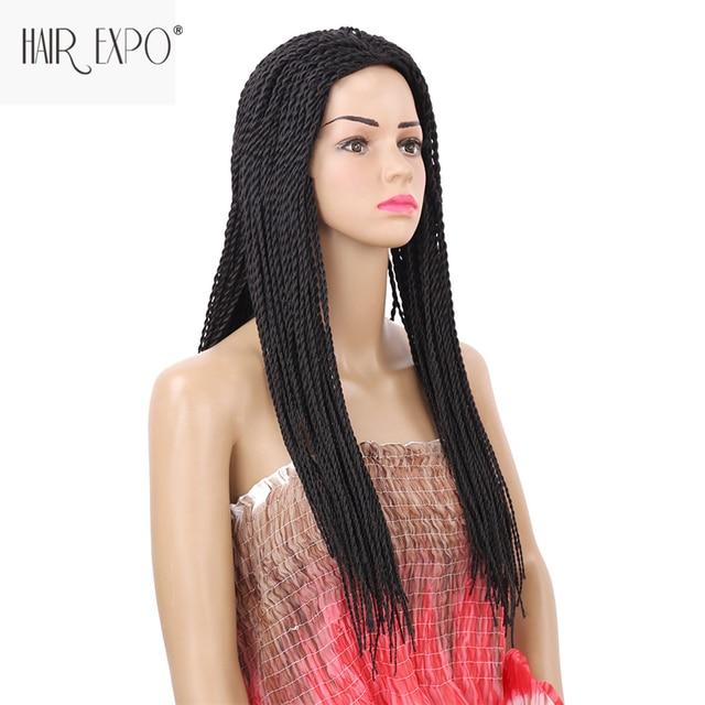 22 дюймов 2X твист парик с косами длинные черные синтетические волосы парик волосы Экспо город