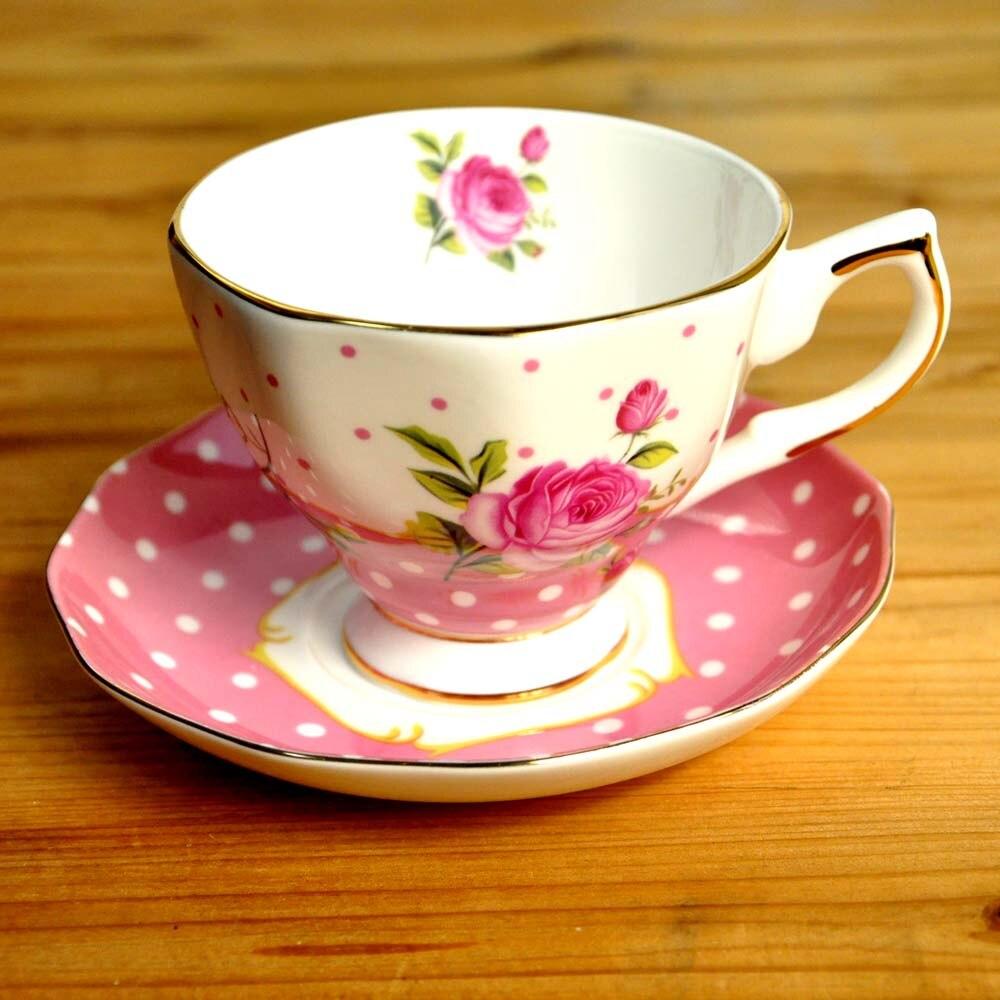 Элегантный костяного фарфора, 1 чашка + 1 блюдце, днем чайный сервиз, для кофе и Пуэр/черный/фрукты/Цветочный чай, пятно розового