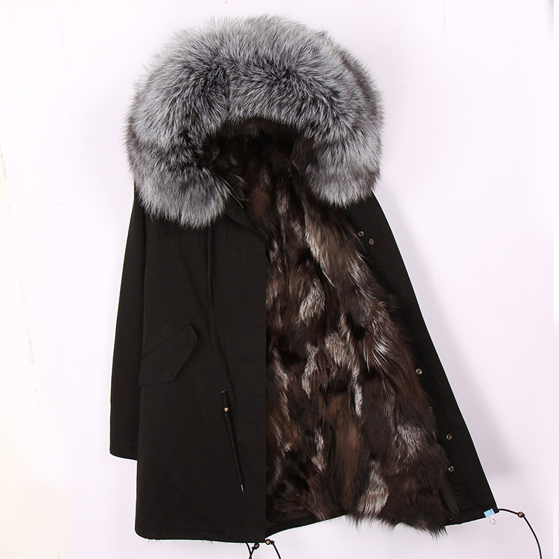 2019 New Fashion Women Luxurious Large Raccoon Fur Collar Hooded Coat Warm Fox Fur Liner Parkas Long Winter Jacket Top Quality