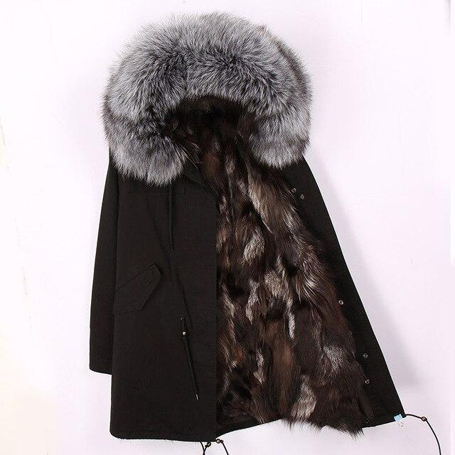 2018 yeni moda kadın lüks Büyük rakun kürk yaka kapüşonlu ceket sıcak Tilki kürk astar parkas uzun kış ceket en kaliteli