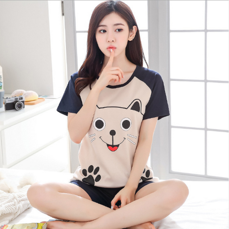 2018 new arrival Summer kawaii   Pajama   suit Girls Student Women Cartoon lovely hourse animal T-Shirts shorts   Pajama     Sets