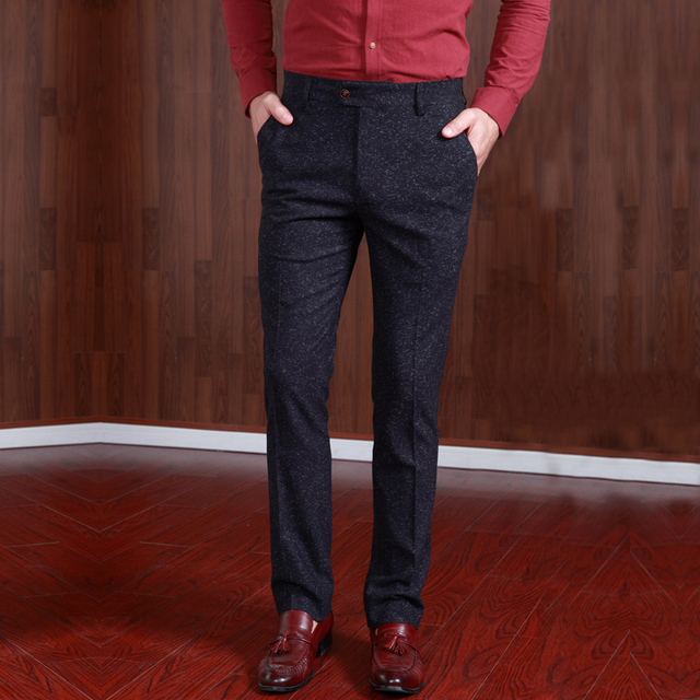 Pre Sale Mens Dress Pants Formal Business Suit Slim Trousers Men Suits Pant Winter Thicken Casual Wedding Groom Trouser