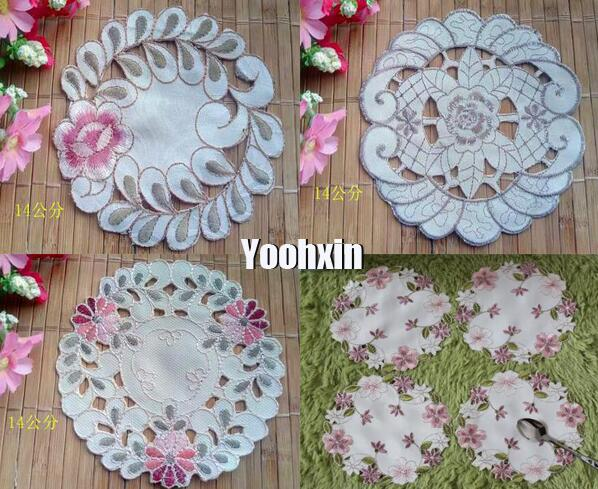 Luxury Satin Lace Embroidery Table Place Mat Cloth Placemat Cup