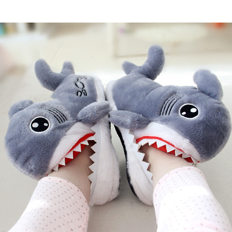 Funny shark warm cotton home slippers fashion plush Bedroom women house shoes indoor floor fluffy fur slippers women new NBT1129 qweek women home animal slippers fur indoor rabbit slippers warm ladies cute funny adult slippers female slide house shoes