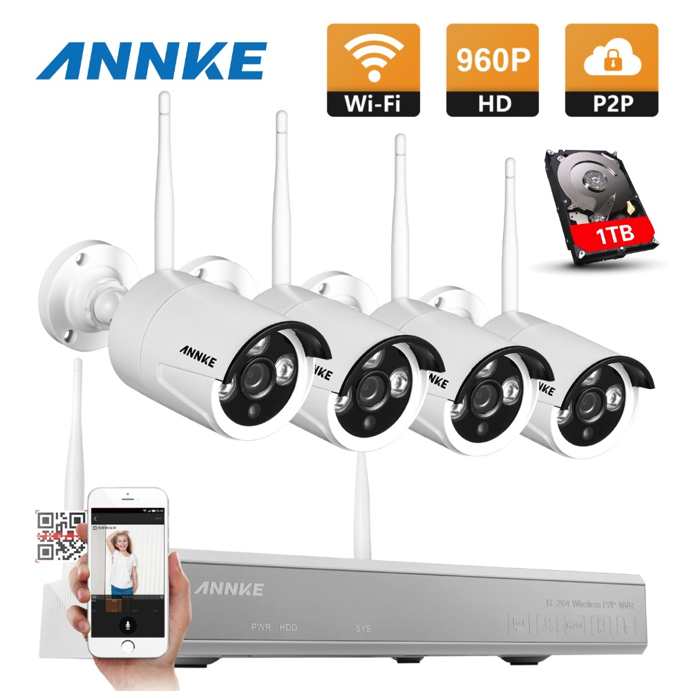 ANNKE Plug and Play Wireless 4CH NVR Kit P2P 960P 1.3MP IR Night Vision Security IP Camera WIFI CCTV Surveillance System 1TB plug and play 4ch 960p wifi nvr kit wireless cctv onvif ip camera system outdoor ir night vision security surveillance for home