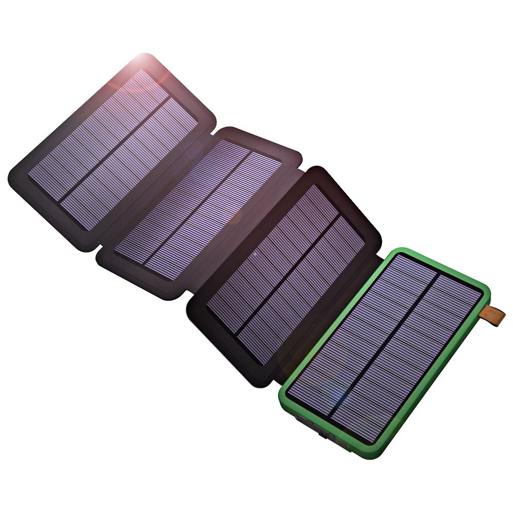 USB Solar Powered Phone Charger 10000mAh Portable Solar Power Bank for iPhone iPad Samsung Xiaomi Outdoor Camping jy 6000t solar powered 5000mah li polymer battery power bank for iphone samsung dark pink