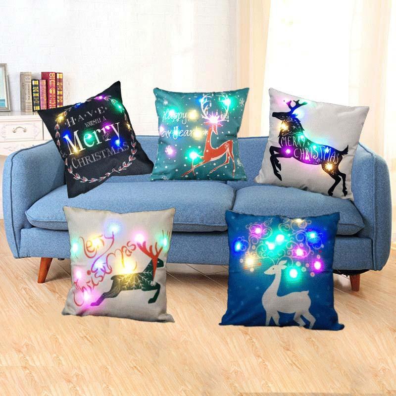 45*45cm Luminous LED light Luminous Cushion Cover Cotton Car Seat Cushion Throw Pillows Cover for Sofa home christmas decoration