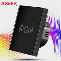 ASEER UK Standard Smart Home Touch Panel Led Light Dimmer Switch White Crystal Capacitive Touch Panel