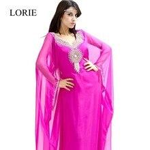 Abendkleider Muslimischen Abendkleid 2017 Robe Kaftan Dubai Fuchsia Rosa Langarm Prom Kleider Abaya Türkischen Party Formale Kleider
