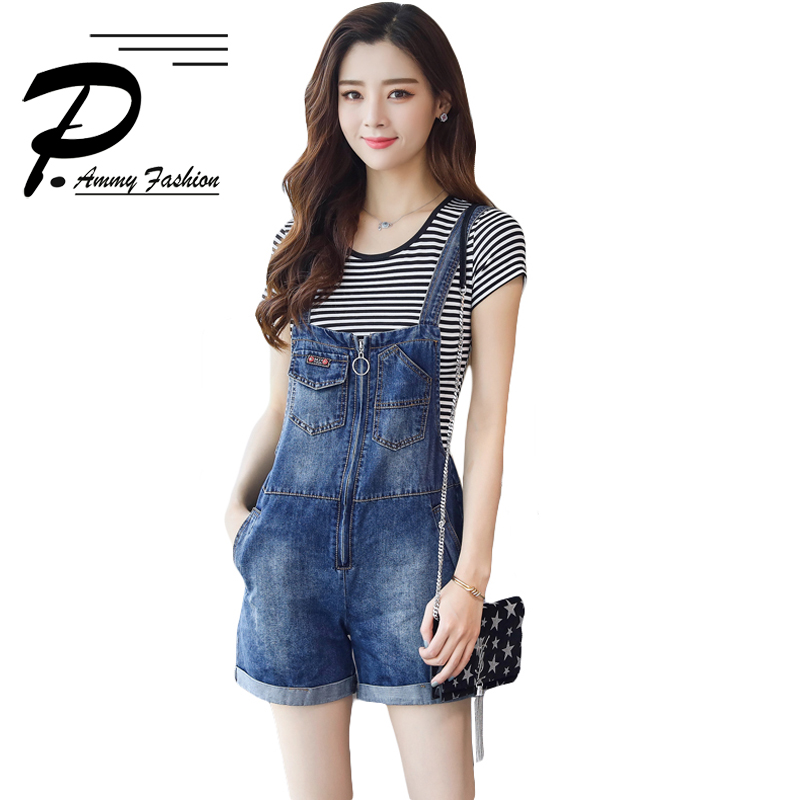 S~2XL Korean Denim Playsuits 2018 Women Fashion New Summer Wild Casual Loose College Wind Jumpsuits Plus Size