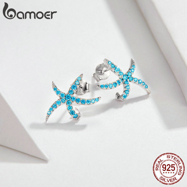 Bamoer Starfish Stud Earrings 925 Sterling Silver 2