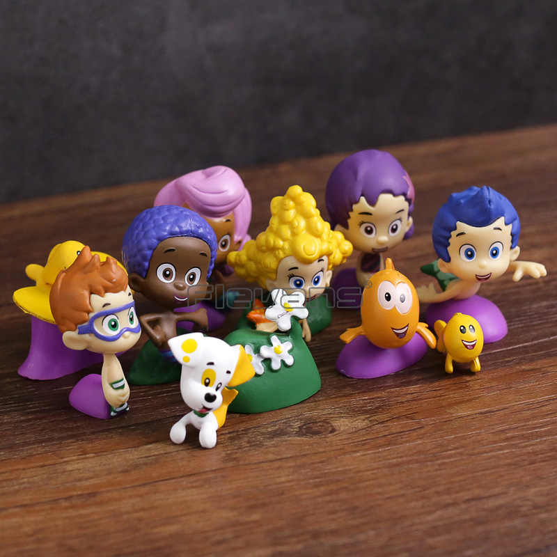 12pcs/set Bubble Guppies Bubble Puppy Deema Goby Gil Oona Underwater  Scenery Mini Cute Figures Dolls Toys Gift for Children
