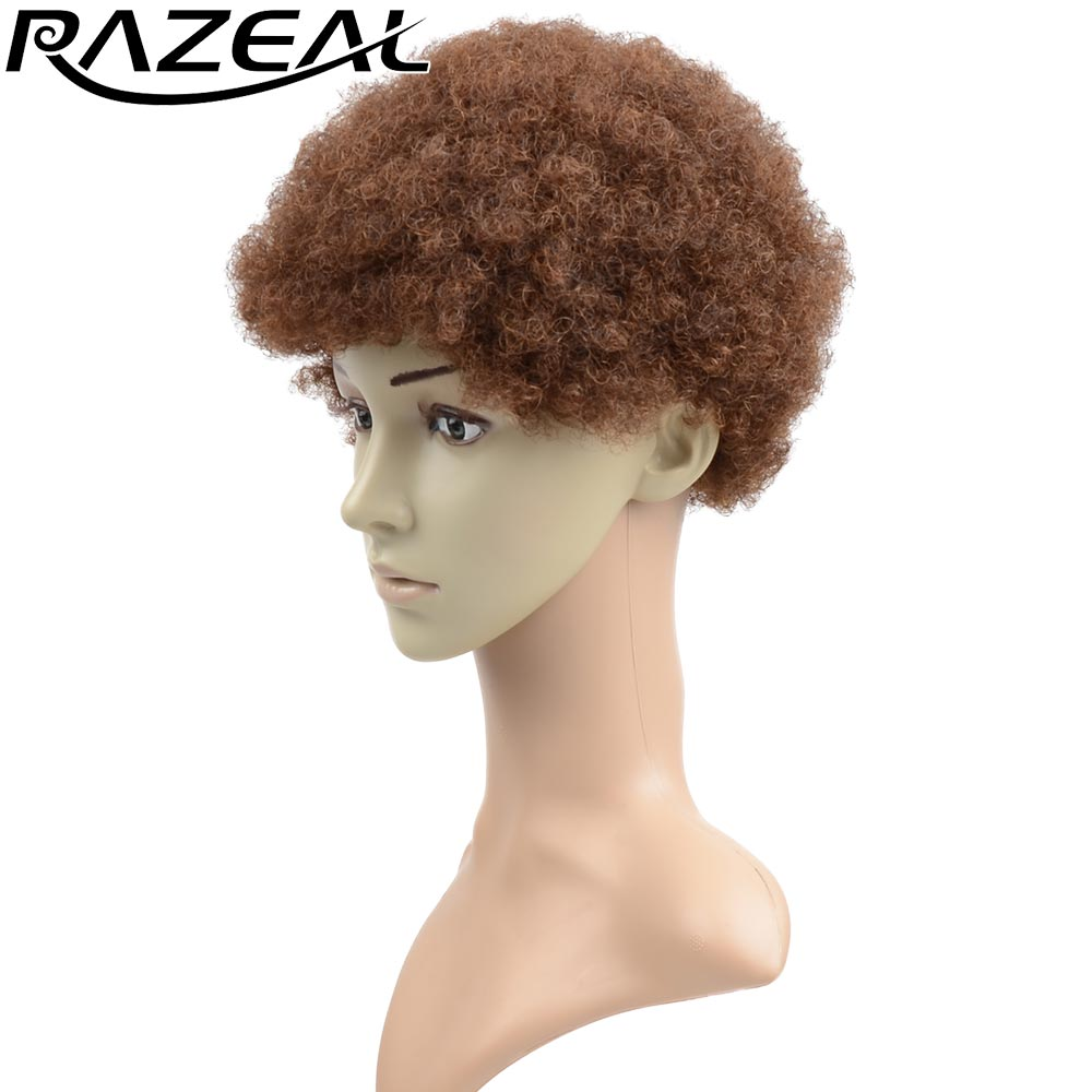 Razeal Natural Afro Wig Kinky Curly Wigs Synthetic Female Short Hair Wigs Fake Hair Pieces High Temperature Fiber