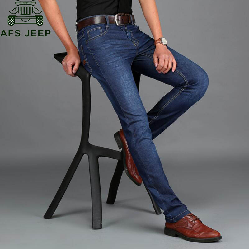 AFS JEEP Men's Jeans Spring/Summer Male Pants Long Straight Style Trousers Soft Skinny Denim Overalls Men No Belt Hot Selling