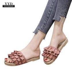 YOUYEDIAN mujeres flip flop moda mujer Color sólido ahueca hacia fuera cuadrado dedo del pie Sandalias planas escarpins femme 2018 # A4