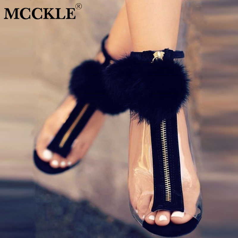 MCCKLE mujer Faux piel Stilettos Sexy bombas tacones altos primavera cremallera transparente Peep Toe partido zapatos para niñas moda 2018