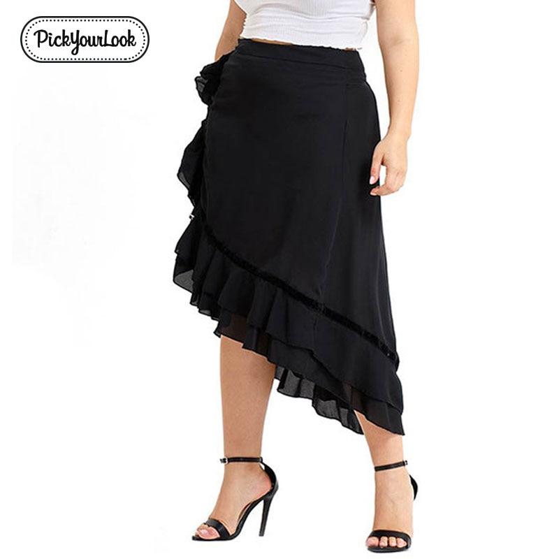 Pickyourlook Women Asymmetrical Midi Skirt Plus Size Solid Black Ruffled Female Oversized Skirts Casual Large Size Lady Skirt