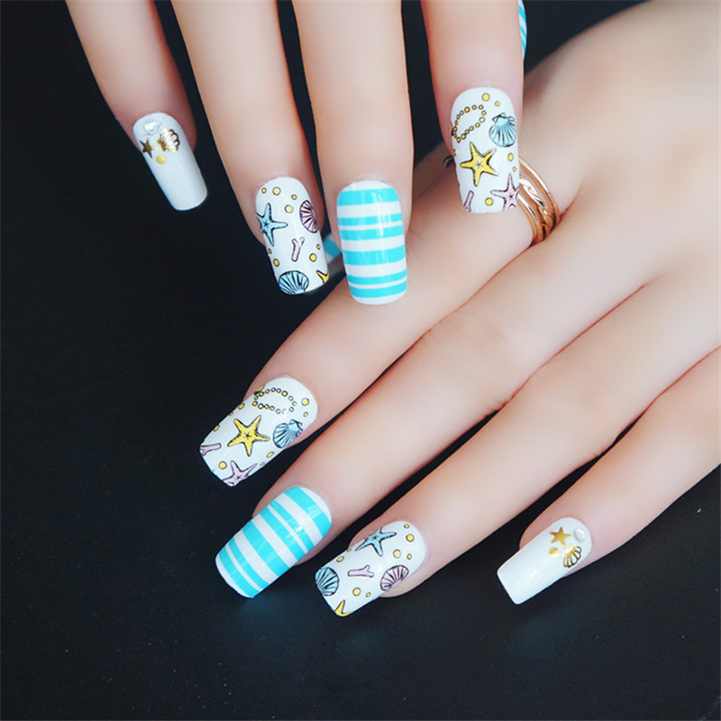 High Quality Ocean Nail Art Sticker Full Cover Starfish Stripe Nails