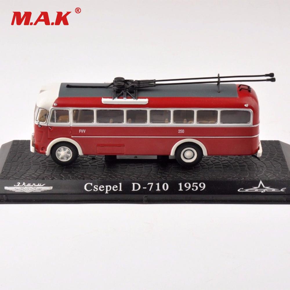 kids toys for collectible tram 1/72 scale diecast model toy red Csepel D-710 1959 clasic bus car model collection toy gift