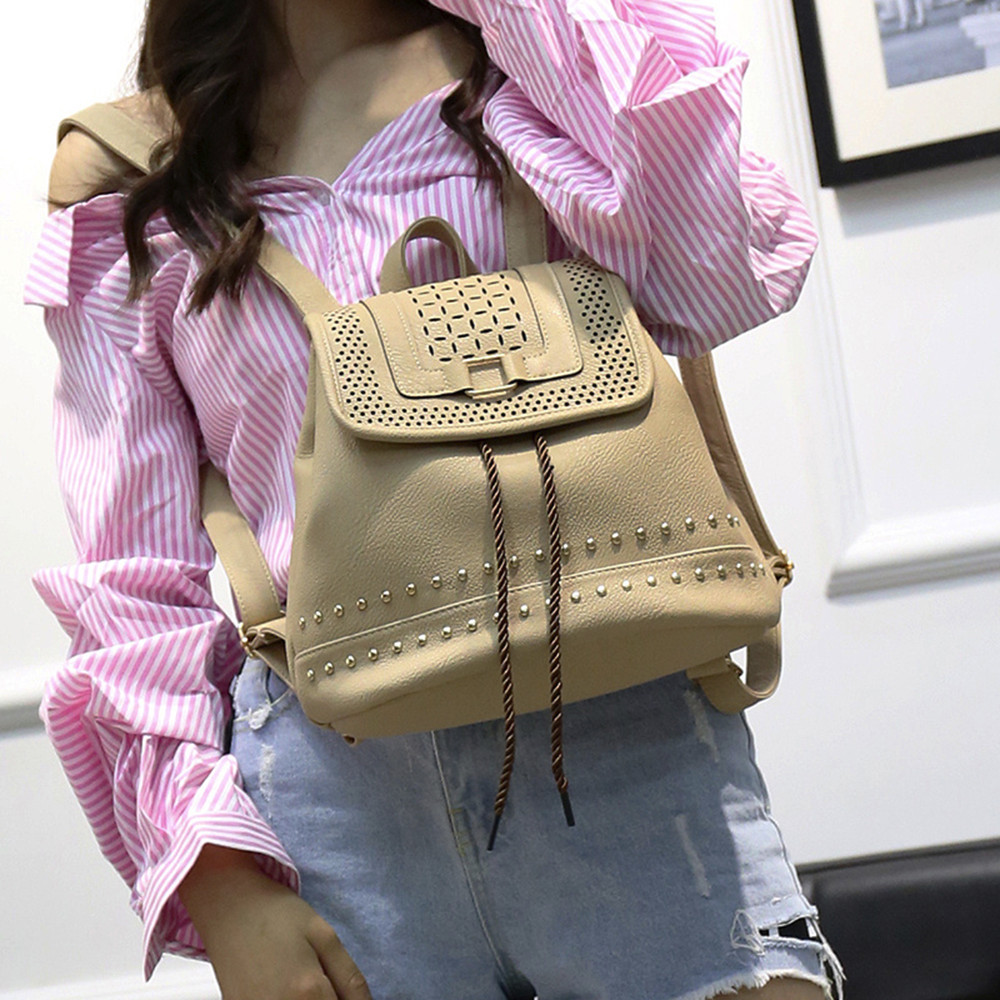 Fashion Women Backpack Vintage Hollow Out Travel Rucksack Drawstring School Bag Popular  ...