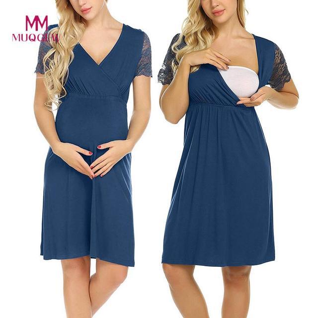 40ffa2386502c US $7.0 30% OFF|MUQGEW Maternity Dresses Pregnant Womens Short Sleeve  Nursing Nightgown Pregnancy Dress Lace Splice Maternity Dress vestidos-in  ...