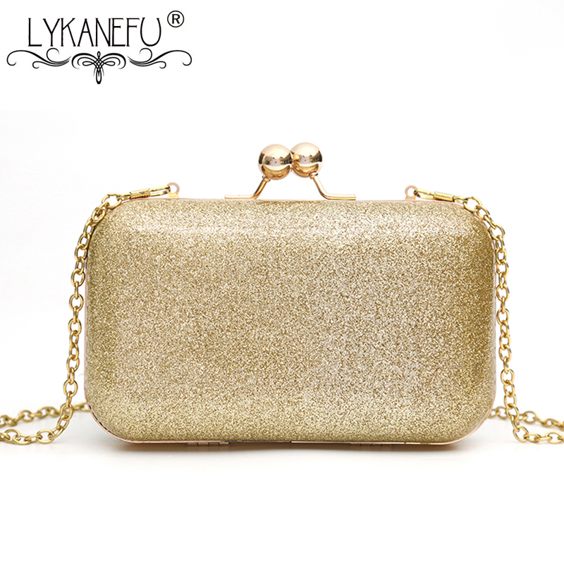 LYKANEFU Sequins Chain Women Evening Bags Frame Day Clutches Small Shoulder Hand Bags For Party Wedding Purse Box Clutch Bag