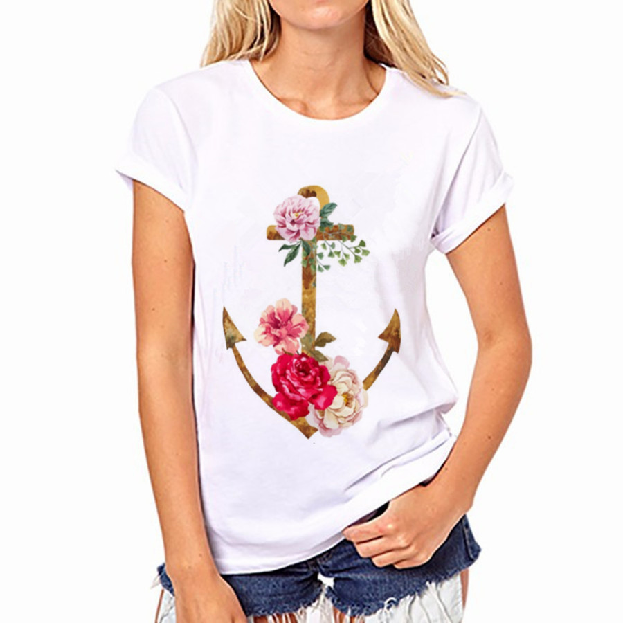 Hot summer flowers stamp anchor fashion trendsetter ladies wome T-Shirt Plus