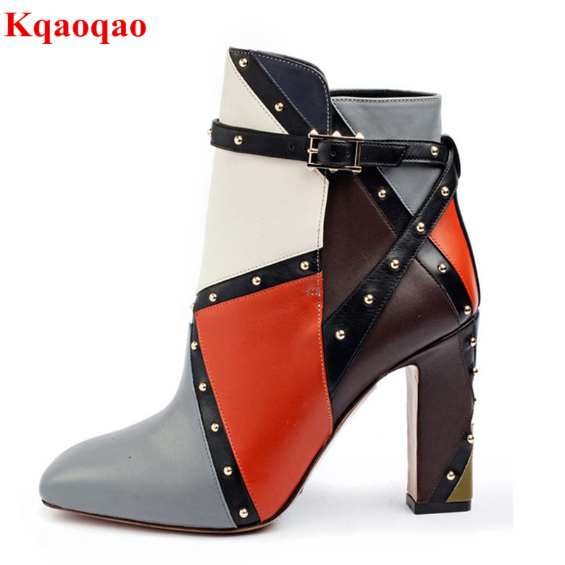 Round Toe Women Boots Mixed Color Short Booties Luxury Brand Women Cool Runway Fashion Star High Heel Boots Buckle Shoes Botas yanicuding round toe women mid calf boots short booties flower butterfly knot design super star lady runway shoes european style