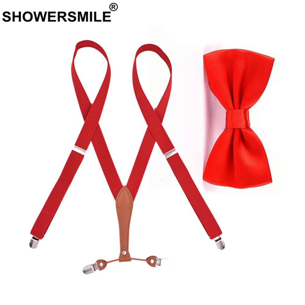 SHOWERSMILE Bow Tie Suspenders Set Women Braces Red Beige Black Navy Custom Susupeners Woman's Suspensorio 4 Clips 110cm