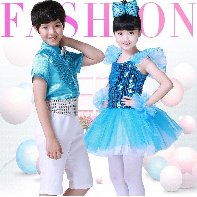 8c4edfcbaa15 Children Dress Party Dance Clothes Girls Boys Clothing Kids Modern ...