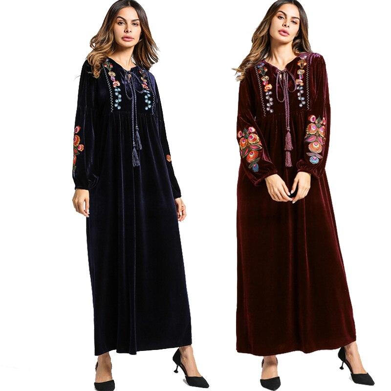 2019 Velvet Abayas For Women Muslim Hijab Dress Jilbab Kaftan Abaya Dubai Robe Musulmane Longue Caftan