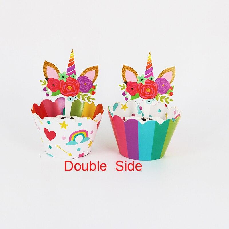 24 Pcs Eenhoorn Paard Cupcake Wrappers Cake Topper Baby Shower Kids Verjaardag Bruiloft Decoratie Benodigdheden 12 Wraps + 12 Topper Om Hinder Uit De Weg Te Ruimen En De Dorst Te Lessen