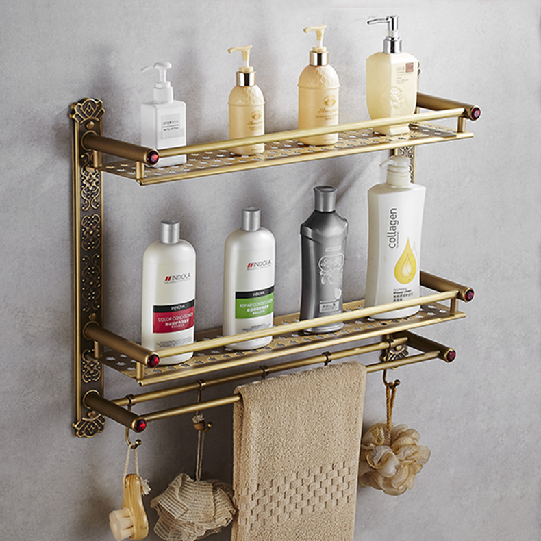 New Arrival Wall Mounted Antique Brass Bathroom Shelf with towel rack and robe hooks Bath Shampoo shelf dual tiers Corner shelf bathroom shelves 2 tier antique brass bath shelf towel bars hanger soap dish shampoo storage basket wall shower rack hook hj 821