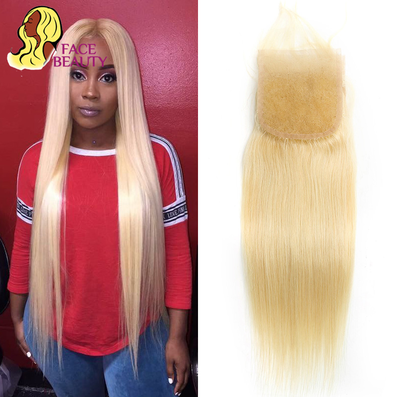 Facebeauty 613 Blonde Brazilian Remy Human Hair Bleached Knot 4x4 Swiss Lace Top Closure with Baby