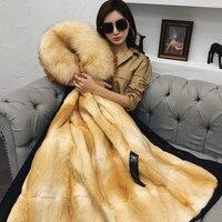 Из натурального меха новые зимние теплые Женская куртка съемный зеленый корни внутренний вкладыш пальто с мехом длинное пальто из норки