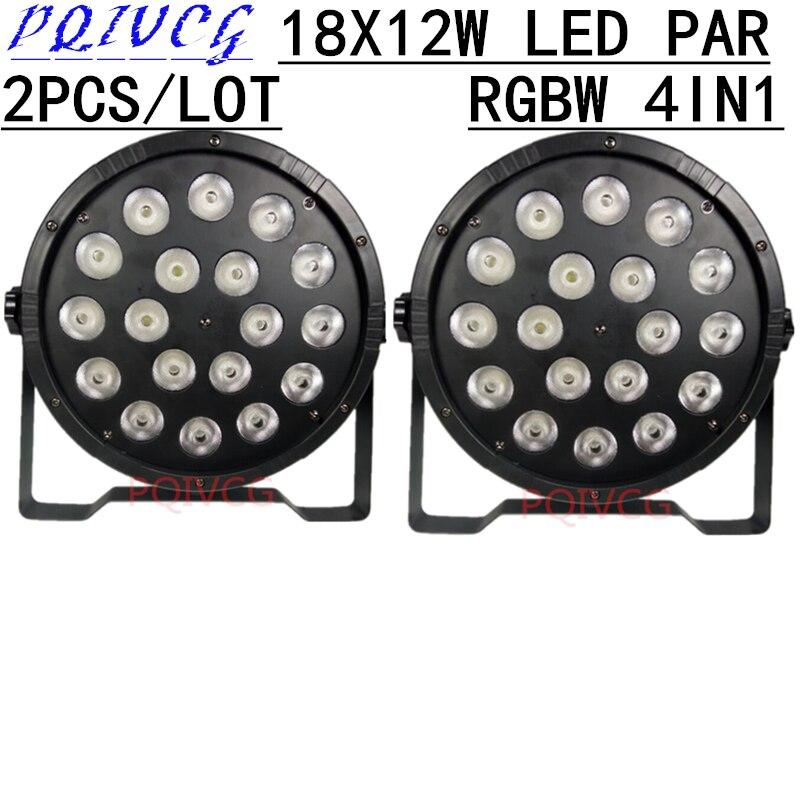 2pcs 18X12W led Par light RGBW 4in1 flat LED PAR dmx512 4 8 CH disco lights