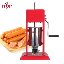 Купить с кэшбэком ITOP Commercial Food Filling Machine 3L Sausage Stuffers Meat Food Double Speeds Manual Sausage Fillers With 4 Funnels