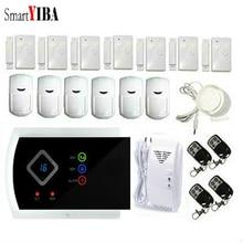 SmartYIBA Wireless GSM SMS Home Burglar Security Alarm System Wired Siren Smoke Fire Sensor Spanish Russian French Cezch Voice